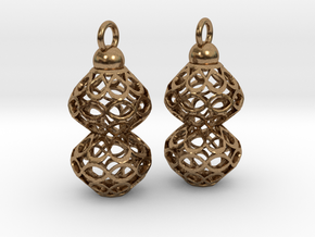 Voronoi style Double Bead Earrings in Natural Brass