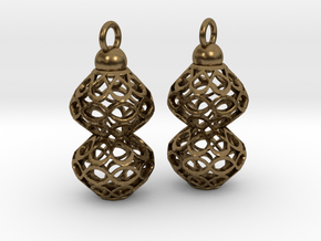 Voronoi style Double Bead Earrings in Natural Bronze