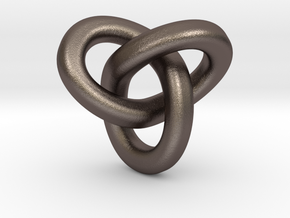 Trefoil Pendant - Small in Polished Bronzed Silver Steel