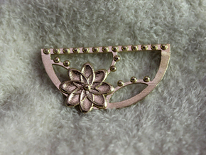 Floral Crescent Pendant in Natural Brass