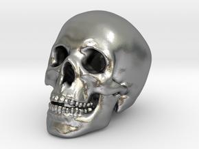 Human Skull - medium in Natural Silver