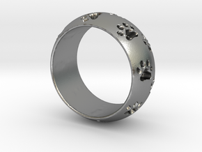Cat Track Ring 0.753 inch/19.15 mm in Natural Silver