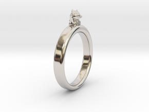 0.736 inch/18.69 mm Cat Ring in Rhodium Plated Brass