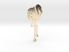 Friendly Flamingo Pendant in 14k Gold Plated Brass