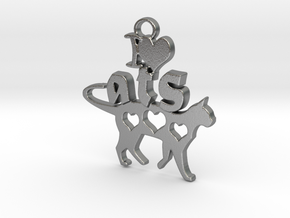 I Heart Cats Pendant in Natural Silver