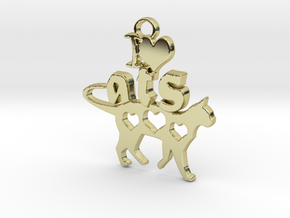 I Heart Cats Pendant in 18k Gold Plated Brass