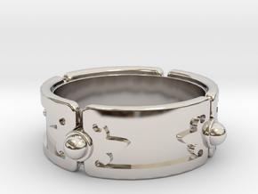Meteorite Brace ver.1 in Rhodium Plated Brass