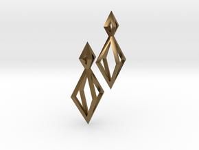 Double Diamond Earrings in Polished Bronze