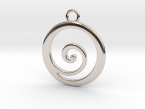 Koru Pendant in Rhodium Plated Brass