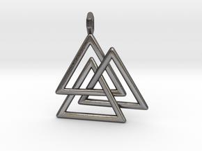 Vikings Valknut Pendant in Polished Nickel Steel