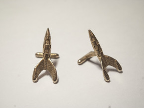 Tintin Rocket Cufflinks in Polished Bronzed Silver Steel