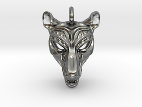 Thylacine (tasmanian tiger) Pendant in Polished Silver