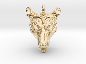 Thylacine (tasmanian tiger) Pendant in 14k Gold Plated Brass