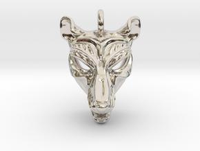 Thylacine (tasmanian tiger) Pendant in Rhodium Plated Brass