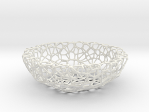 Bowl (19 cm) - Voronoi-Style #1  in White Natural Versatile Plastic