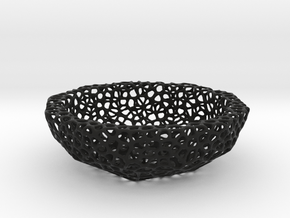 Bowl (19 cm) - Voronoi-Style #3 in Black Natural Versatile Plastic