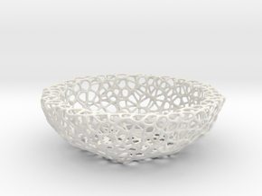 Fruit bowl (22 cm) - Voronoi-Style #2 in White Strong & Flexible