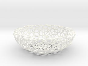 Little Bowl (15 cm) - Voronoi-Style #1  in White Processed Versatile Plastic
