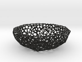 Little Bowl (15 cm) - Voronoi-Style #2 in Black Strong & Flexible