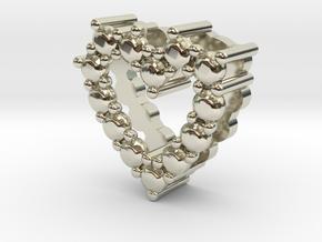 """Pendentif Heart, small """"diamonds"""" in 14k White Gold"""