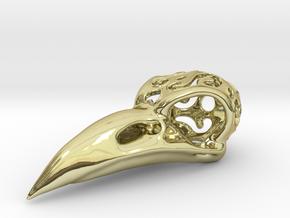 Raven Skull Pendant in 18k Gold Plated Brass: Medium
