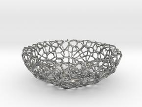 Mini Key shell / bowl (8 cm) - Voronoi-Style #1 in Natural Silver