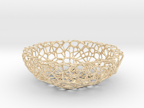 Mini Key shell / bowl (8 cm) - Voronoi-Style #1 in 14k Gold Plated Brass