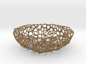 Mini shell / bowl (6 cm) - Voronoi-Style #1 in Raw Brass
