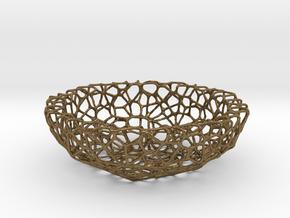 Mini shell / bowl (6 cm) - Voronoi-Style #1 in Natural Bronze