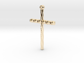 Twisted Cross in 14K Yellow Gold