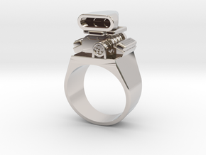 Size 10 Big Block Entertainment Supercharger Ring in Rhodium Plated