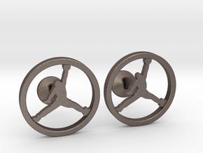 Jumpman Cufflinks v2 in Polished Bronzed Silver Steel