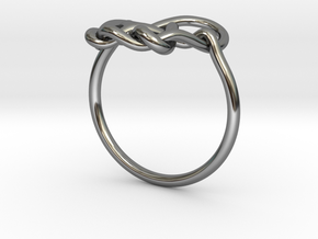 Heart Knot Ring in Fine Detail Polished Silver