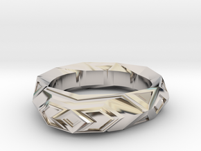 Fractal polygon ring (size 8.5 default) in Rhodium Plated Brass