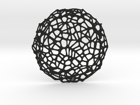 Drink coaster - Voronoi #8 (8 cm) in Black Strong & Flexible