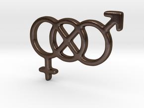 Genderfluid / Genderqueer Pride Keychain in Polished Bronze Steel