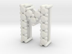 """Pendentif Initial, letter """"M"""" in White Natural Versatile Plastic"""