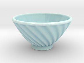 DRAW bowl - ceramic spiral ridged in Gloss Celadon Green Porcelain