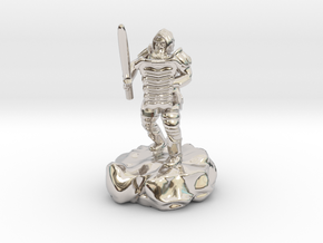 Hill Dwarf Figher in Rhodium Plated Brass