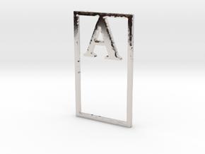 Bookmark Monogram. Initial / Letter A  in Platinum