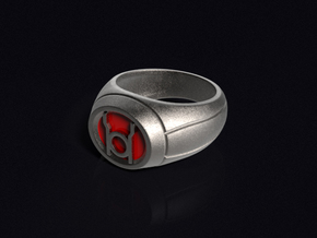 Red Lantern Ring in Polished Bronzed Silver Steel