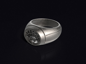 White Lantern Ring in Polished Bronzed Silver Steel
