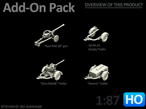 Add-On pack - (Trailers and guns) HO in Smooth Fine Detail Plastic