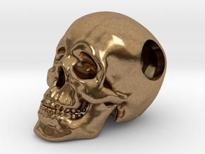 Human Skull Bead - small in Natural Brass