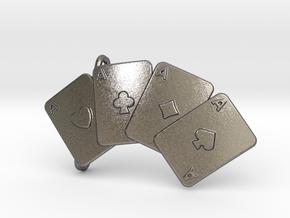 Aces Belt Buckle in Polished Nickel Steel