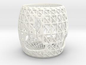 3D Printed Block Island Tea Light 2 in White Processed Versatile Plastic