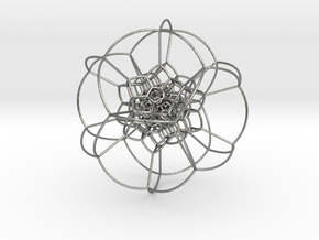 120-cell stereographic, small in Natural Silver