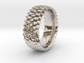 Scale Ring 2016 Size 11 in Rhodium Plated Brass