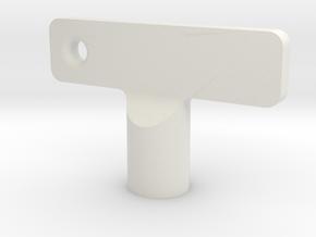 Drum Key Small & Simple in White Natural Versatile Plastic