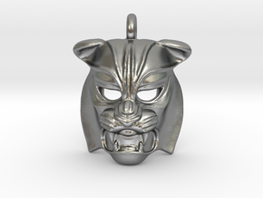 Tiger kabuki-style Pendant small in Natural Silver